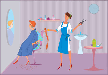 hairdressing scissors: Beauty salon worker girl doing haircut  to  her client Illustration