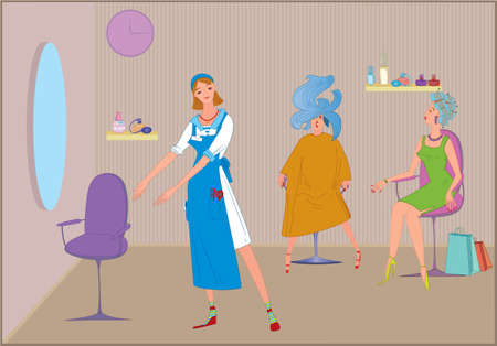 Beauty salon werknemer meisje uit te nodigen om te zitten in de stoel Stockfoto - 7579877