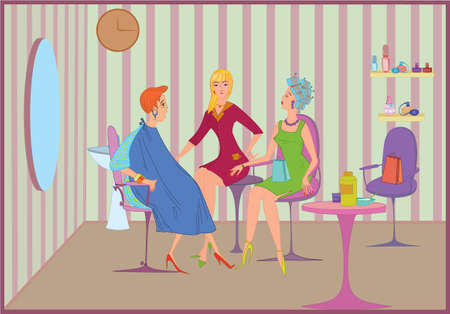 Beauty salon customers speaking in the room Vector