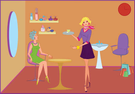 Beauty salon manager offering  coffee to a customer Vector