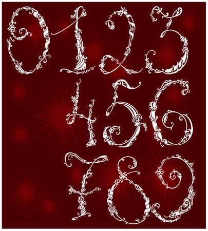 Numeri da zero a nove in stile floreale Archivio Fotografico - 7579879