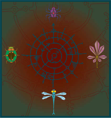 arthropod: Abstract illustration of a arthropod beetles  and dragonfly