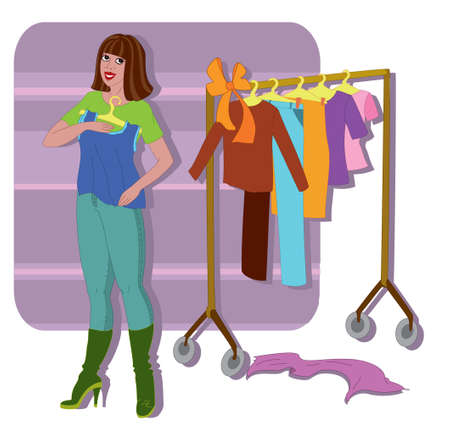 Happy young woman trying on  new blouse  Vector