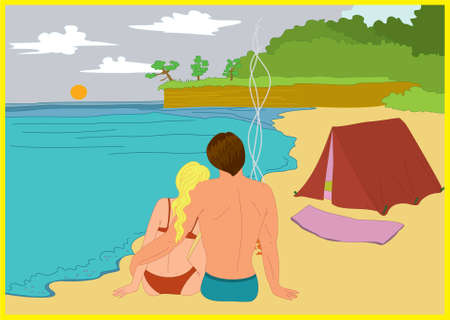 romantic getaway: Young couple camping on the beach with tent