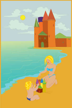 Mother and  her child building castle on the beach 向量圖像