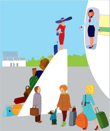 Flight Attendant begrüßt Menschen auf der Ebene  Illustration