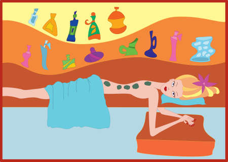 skin oil: Young woman doing hot stone massage  Illustration