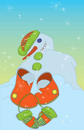 Melting Snowman with boots and mittens in the morning