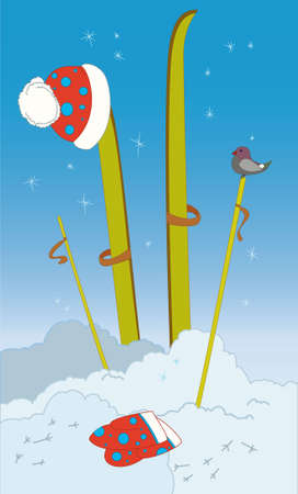 Skis in snow with hat and mittens Vector