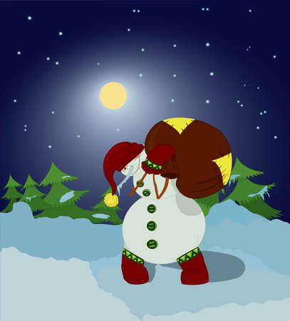 Snowman carrying  gift bag in the night