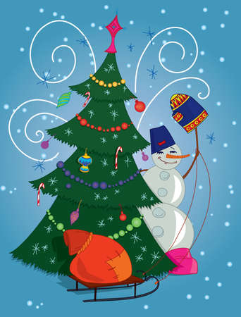 Snowman with red gift bag and Christmas tree Stock Vector - 8335933