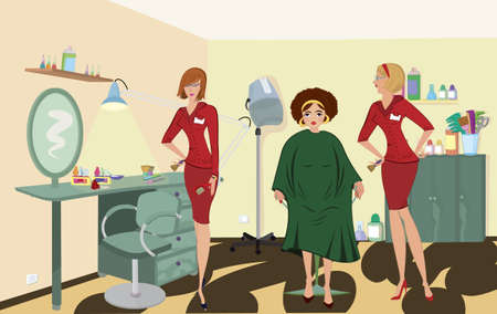 Beauty salon  client two salon workers in red uniforms