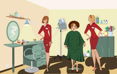 manicurista: Trabajadores de sal�n de cliente dos de sal�n de belleza en uniformes rojos