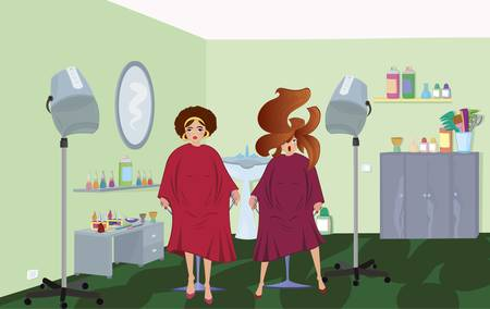 Beauty salon  clients in robes waiting for a hairdresser Vector