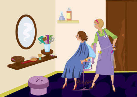 Beauty salon brunet looking in the mirror after hair cut Vector