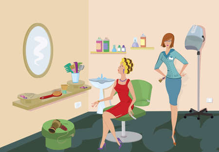 Beauty salon client in red dress is looking in the mirror Vector