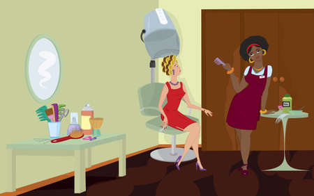 comb hair: Beauty salon client sitting under hair dryer stand