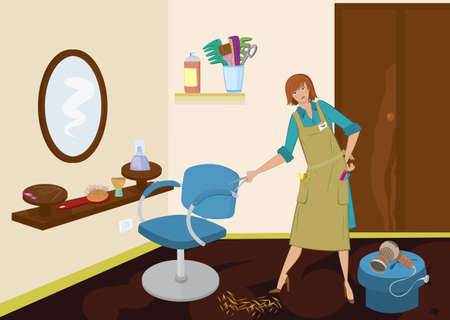 Beauty salon hairdresser with scissors near the chair Ilustração