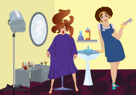 Beauty salon professional and a client near stand up blow dryer Vector