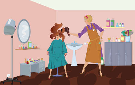 美容専門家は、クライアントを乾燥打撃です。