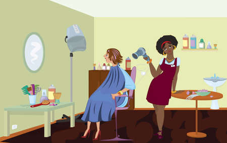 Beauty salon professional is blow drying clients hair after dying it Vector