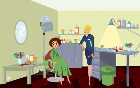 hair style: Beauty salon professional with comb  and a client in green robe
