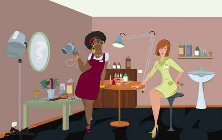 Beauty salon professionals are waiting for a client  Vector