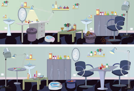 Beauty salon  banner furniture and appliances  Vector