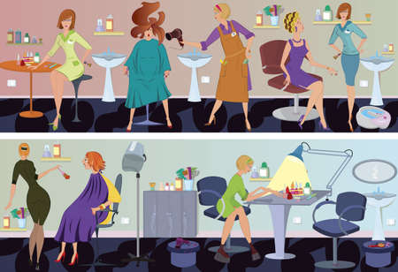 make up applying: Beauty salon  workers and clients in different situations