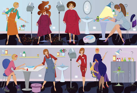 Beauty salon  workers and clients in different situations Vector