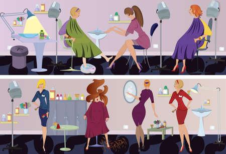 make up brush: Sal�n de belleza de trabajadores y clientes en diferentes situaciones. Vectores