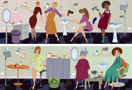 manicurista: Sal�n de belleza de trabajadores y clientes en diferentes situaciones. Vectores