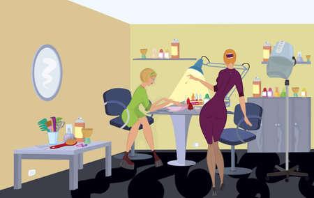 緑のドレスで美容サロンのクライアントは、マニキュアを取得します。  イラスト・ベクター素材