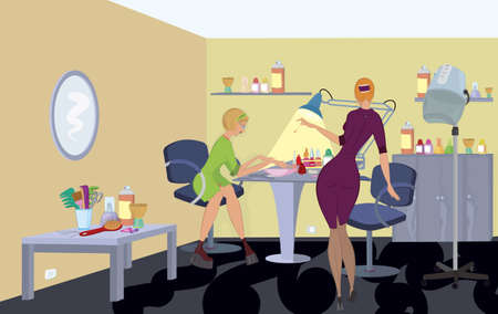Beauty salon  client in green dress is getting manicure  Vector