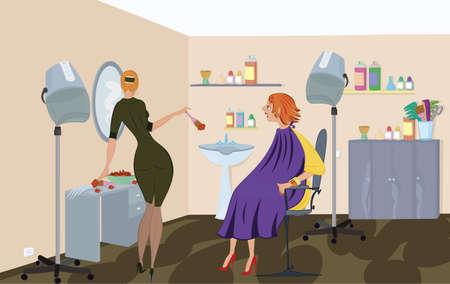 Schoonheidssalon werknemer is de toepassing van haarverf Stock Illustratie