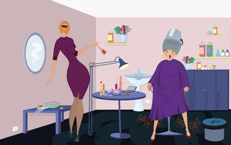 Beauty salon  worker with brush  and client under blow dryer stand up  Vector