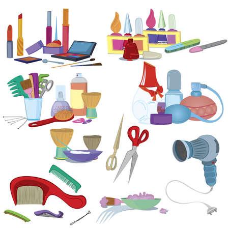 kam: Schoonheidssalon kwasten, make-up manicure icon set