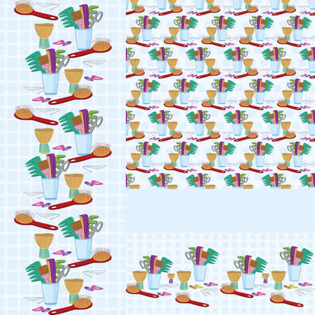 Beauty salon combs and brushes  horizontal and vertical  seamless pattern Vector