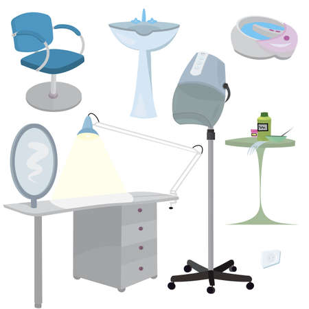 furniture: Beauty salon furniture  icon set   Illustration