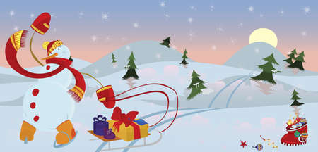 Snow man in red scarf in the morning  banner Vector