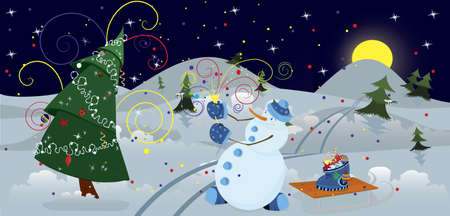 Snow man making firework in the night  banner