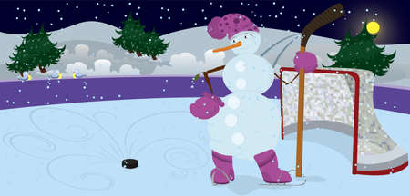 Snowman is playing ice-hockey in the night banner