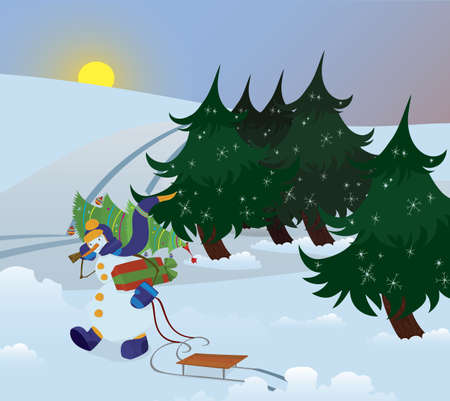 Snowman is walking through the forest with Charismas tree on his shoulder Illusztráció
