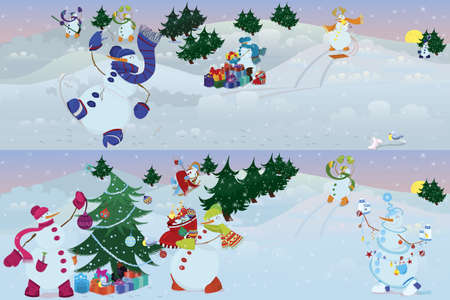 Two banners of snowmen living in magic forest  Illustration