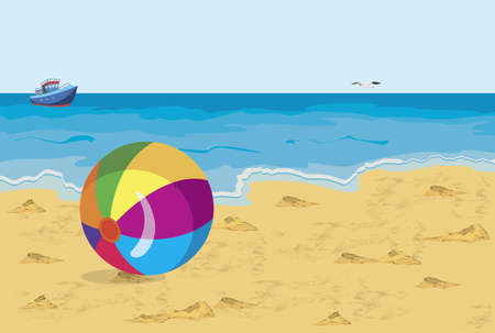 Vector illustration of big colorful ball on the beach seagull and ship