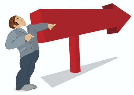 Man is pointing in the direction of a red arrow Stock Illustratie