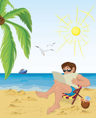 Vector illustration of a man sitting in the chair on the beach reading newspaper