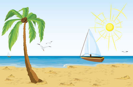 Vector illustration of a palm tree on sand beach and bat sailing in the ocean Illustration