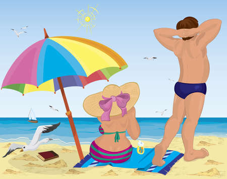 back to back couple: Vector illustration of a married couple on the beach under umbrella