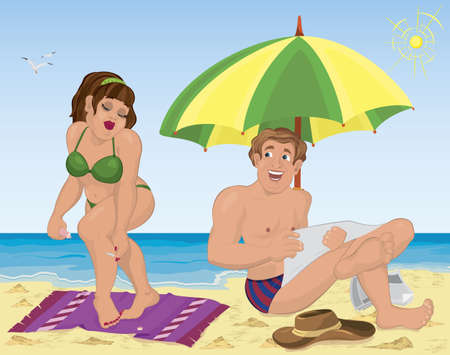 Vector illustration of a smiling man and a woman applying lotion  Vectores